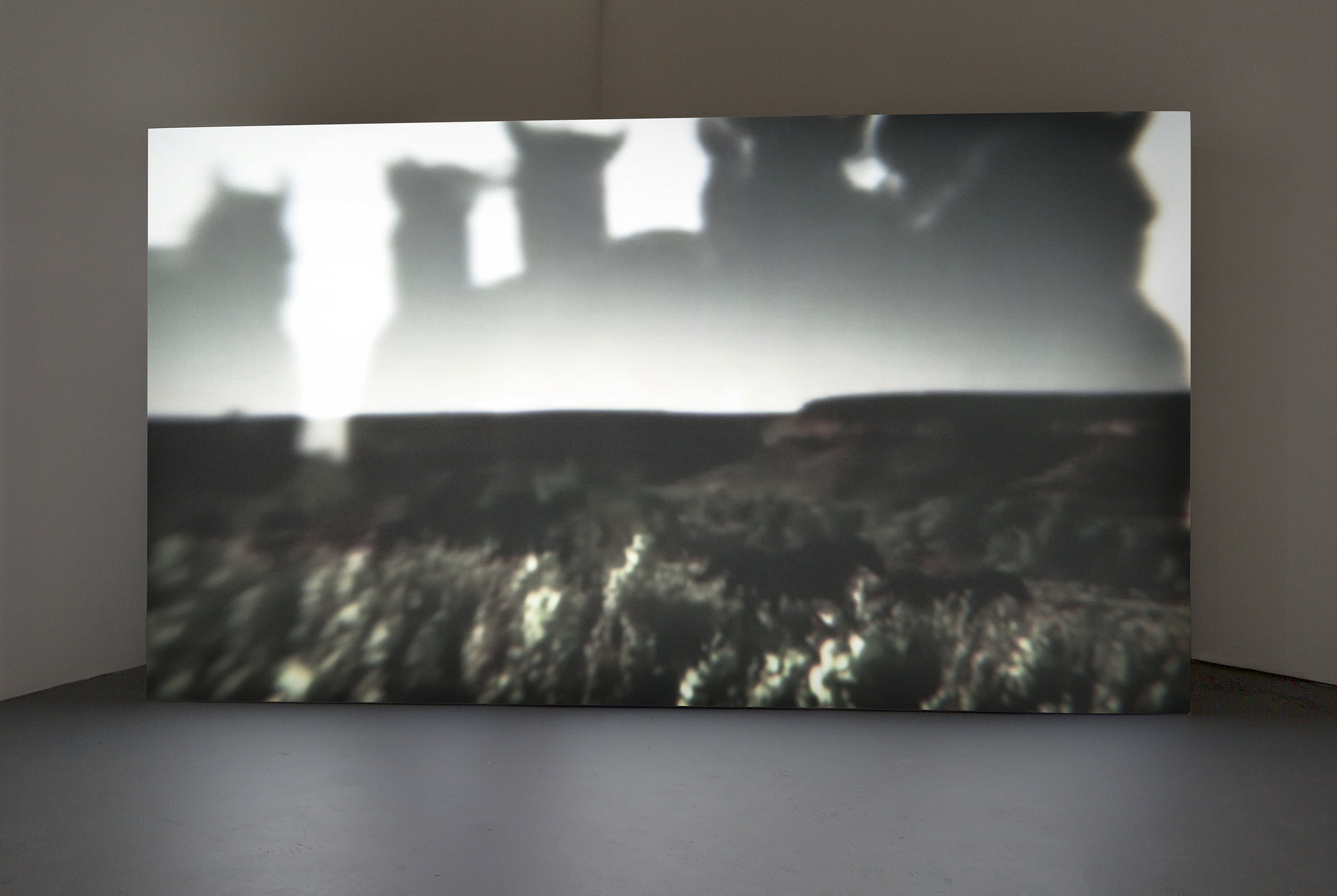 "you can't plan a perfect day sometimes it just happens  by Alison Nguyen, Hd video installation, single channel, color, sound, 10'w x 5' 7 1/2""h x 1' 3 3/4""d custom projection screen, 8 minute loop, 2017 - 2019"