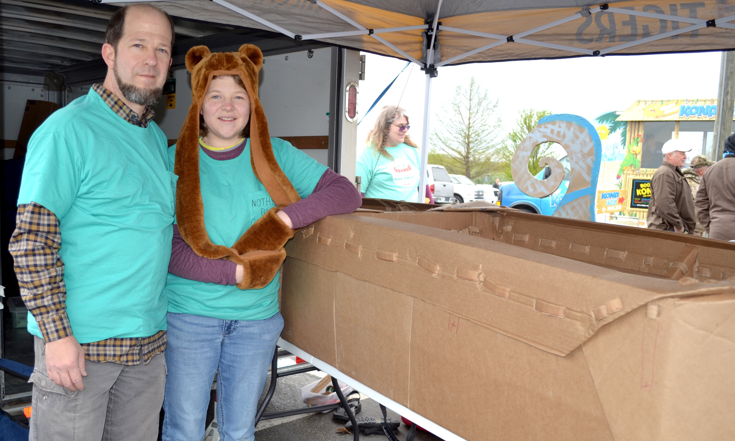 Ruben and Corrie Bolton show off Float Your Boat's first-ever solely cardboard boat.