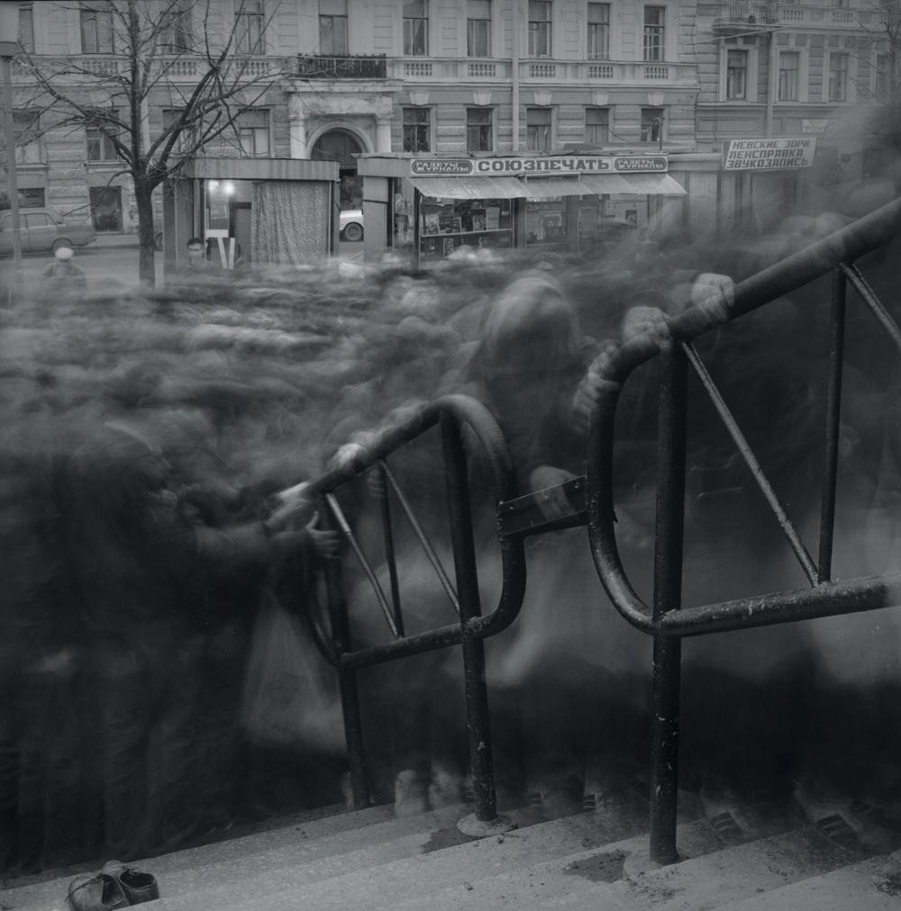 Crowd Trying to Enter Vassileostrovskaya Metro Station During The Collapse of the Soviet Union © 1992 Alexey Titarenko