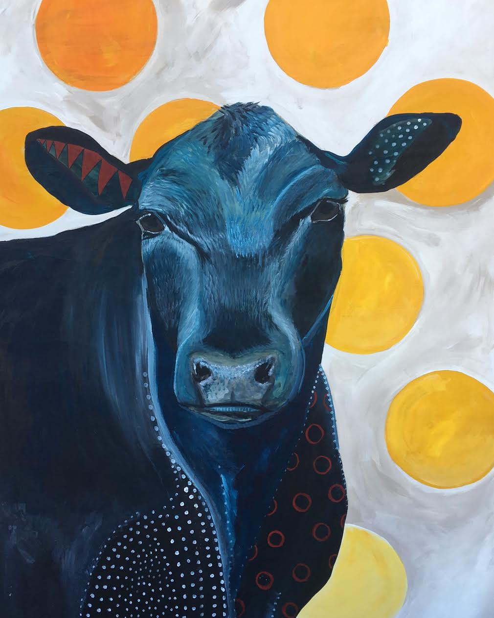 Blue Cow Yellow Dots 3' x 4'