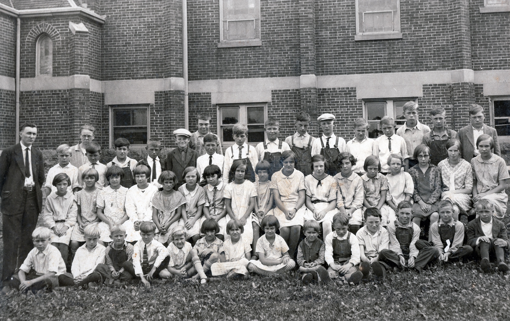 St. Paul Lutheran School was held in the church basement until 1958. This is the class of 1928-29 with Otto Loeck as teacher.