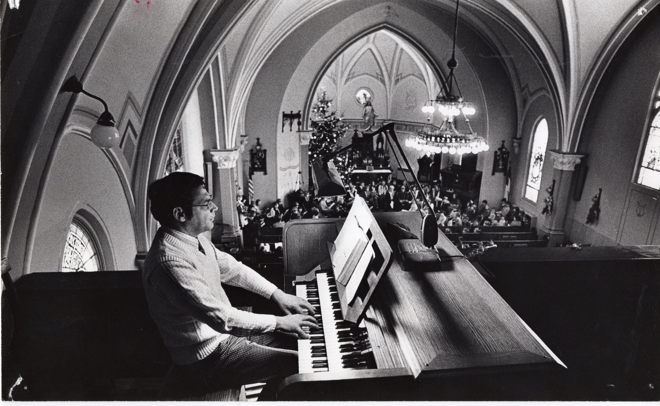 Christmas in the Madison Street church, exact year unknown.