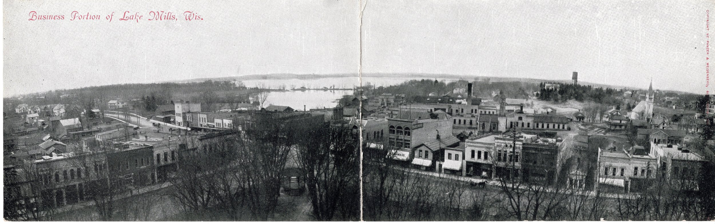 Lake Mills with the 1903 St. Paul Lutheran church building (in white toward the right)