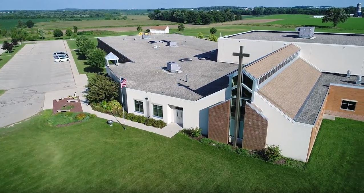 Drone picture of our facility in summer 2018