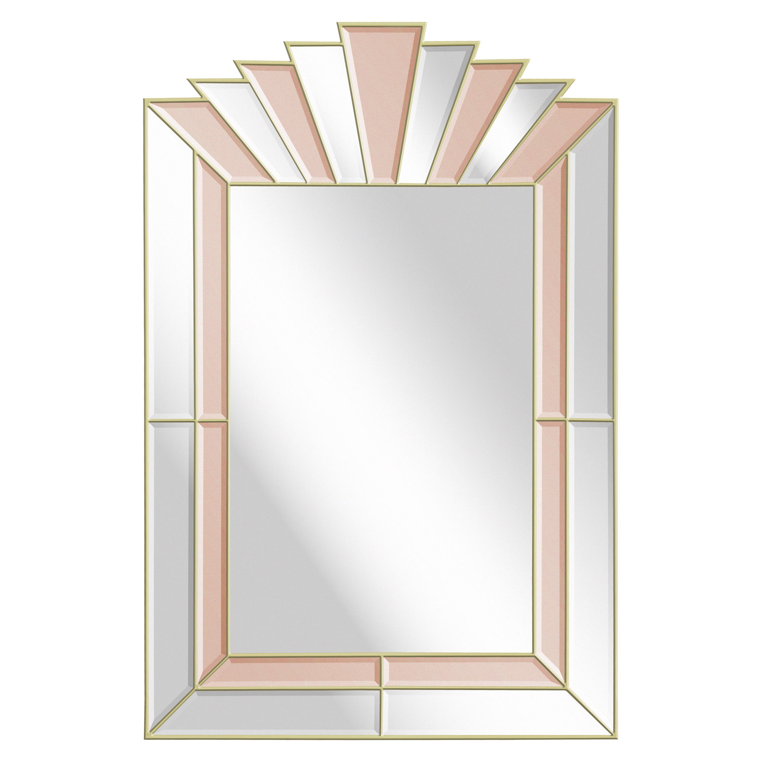 Art Deco Style Mirror With Clear And Champagne Tinted Mirrored Panels 1970s Lobel Modern Nyc
