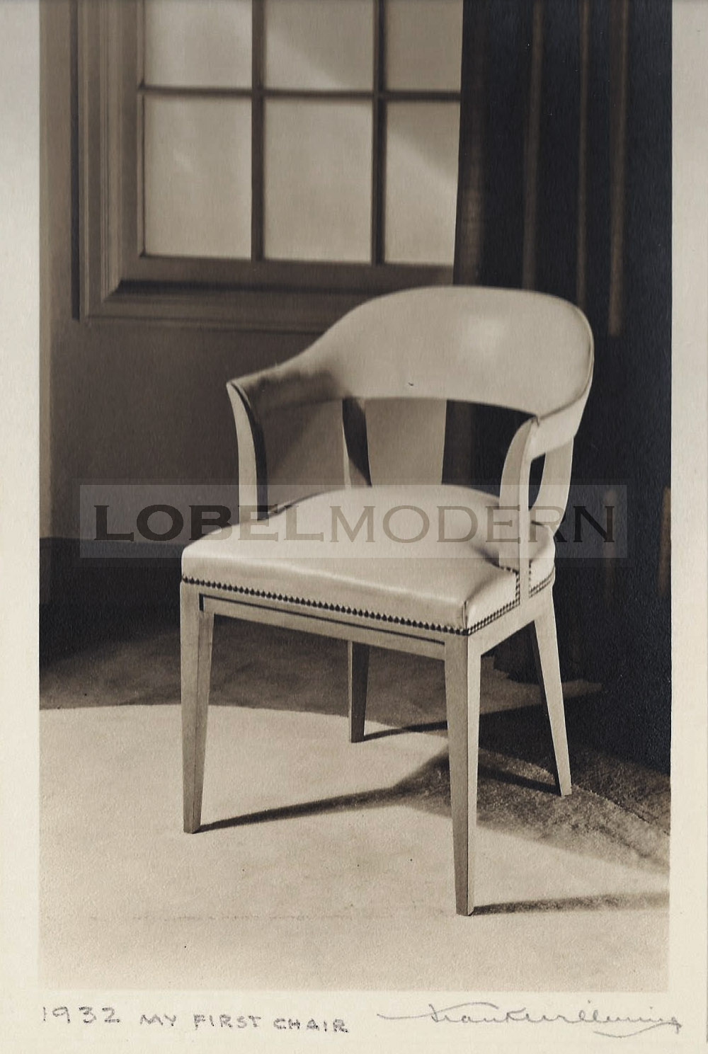 """Photo from the Wormley Archive at Lobel Modern. Notations hand-written by Edward Wormley. This photo is inscribed """"My first chair"""""""