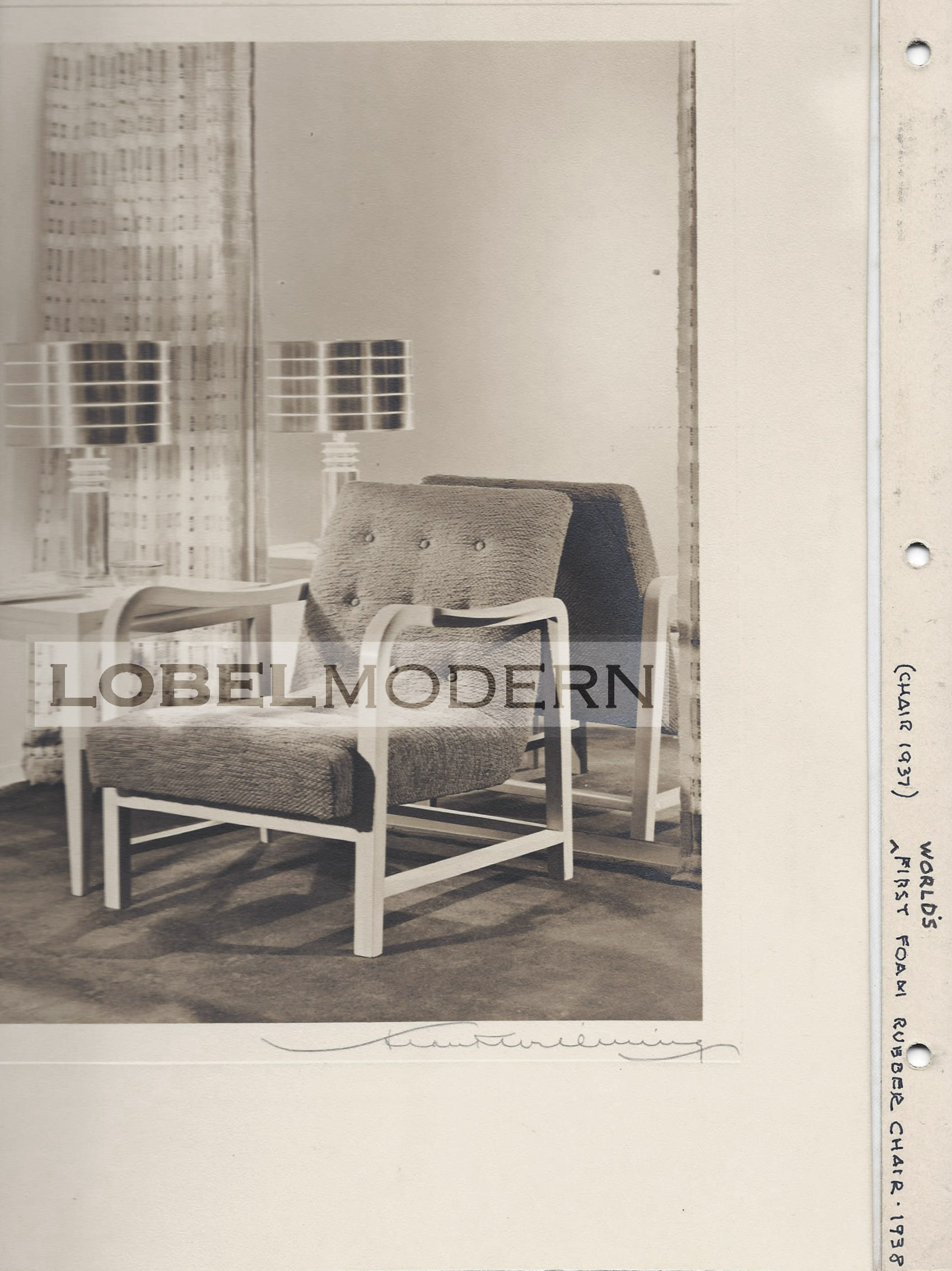 """Photo from Wormley Archive at Lobel Modern. This photo is inscribed """"World's first foam rubber chair - 1938"""""""