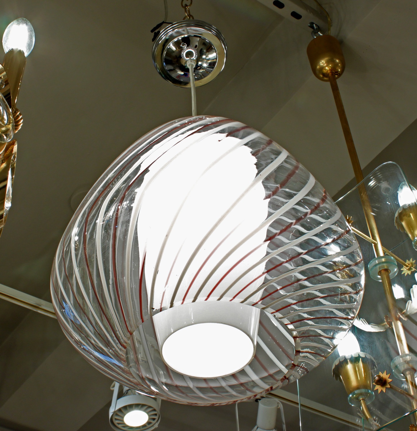 Murano 35 glass shade over cone chandelier223 detail.jpg