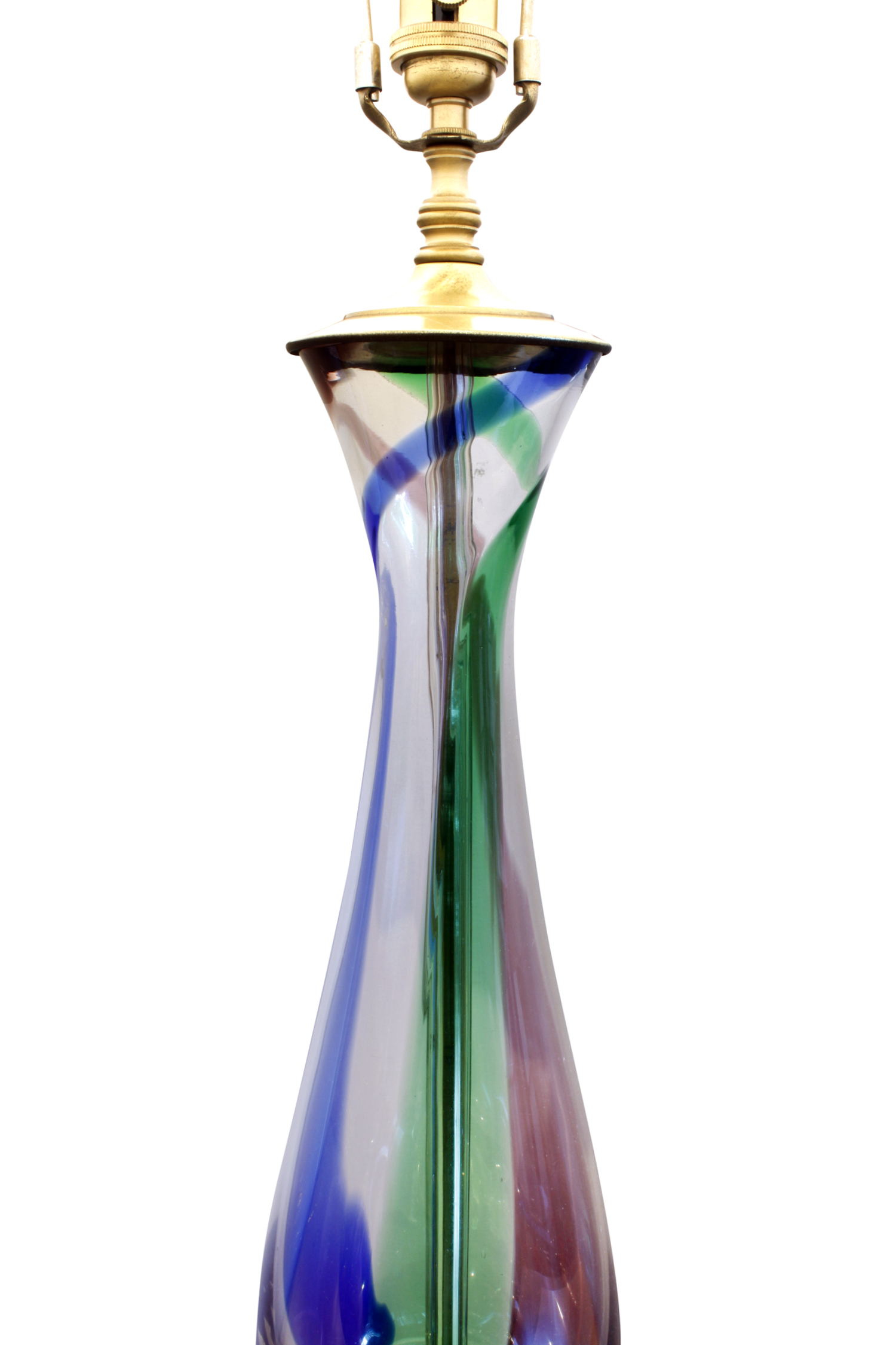 Murano pr red blue green clear table lamps pair dtl.JPG