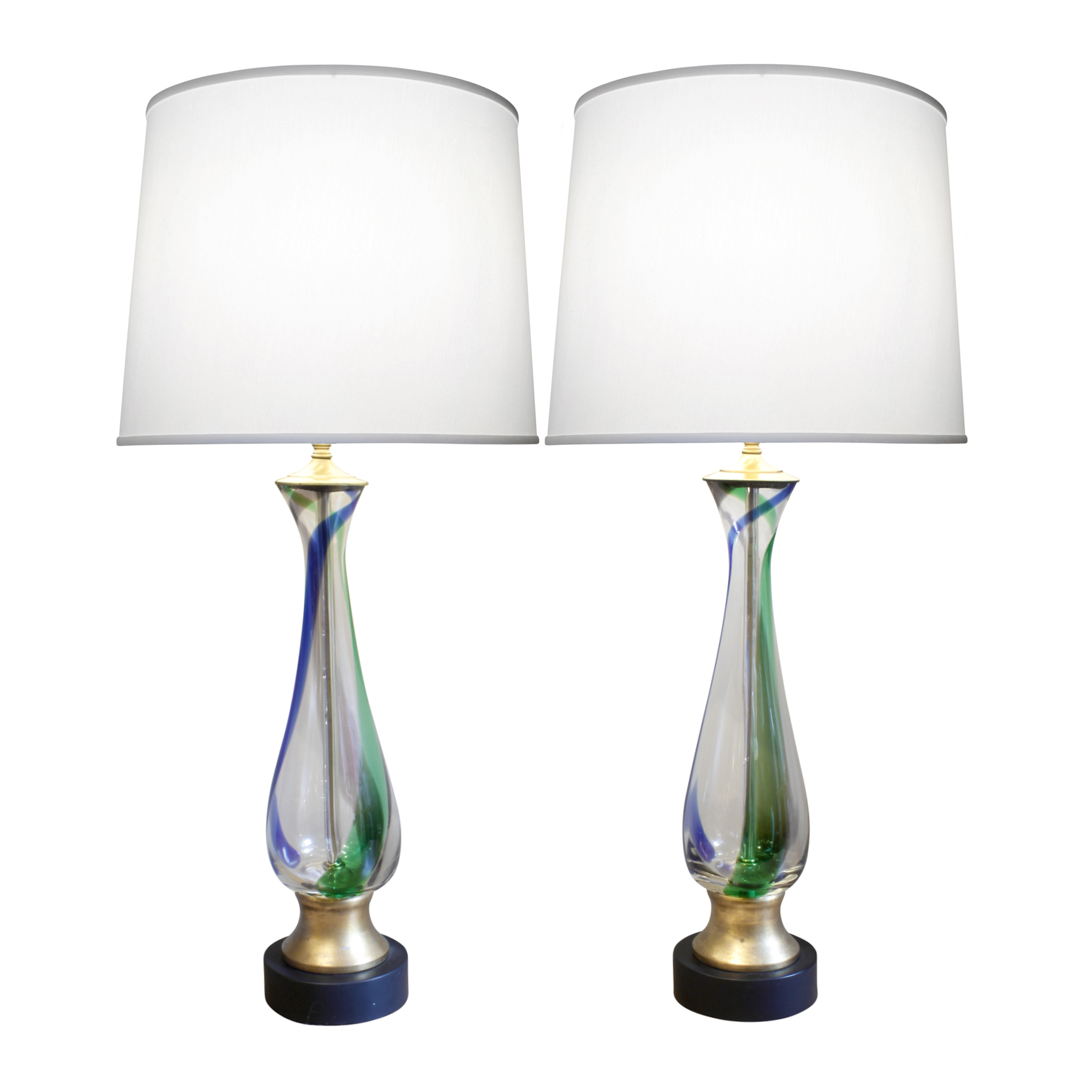 Murano pr red blue green clear table lamps pair.JPG