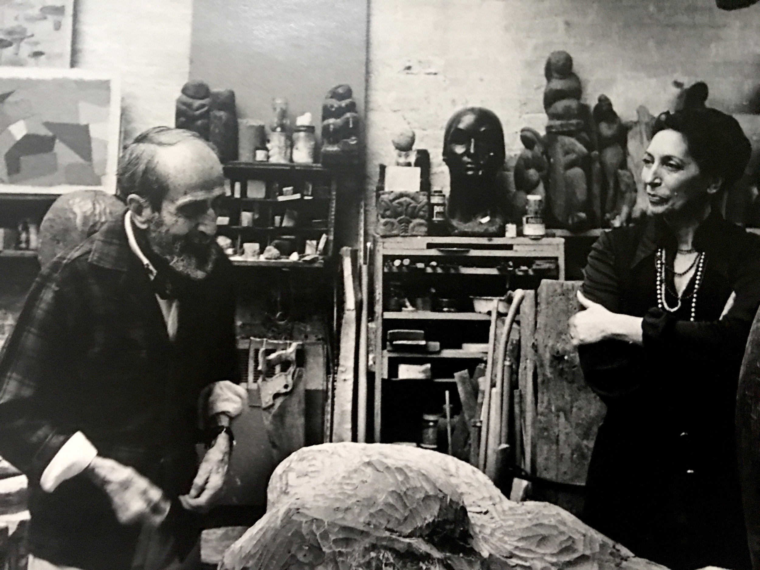 Naomi Feinberg in her studio with Jose De Creeft