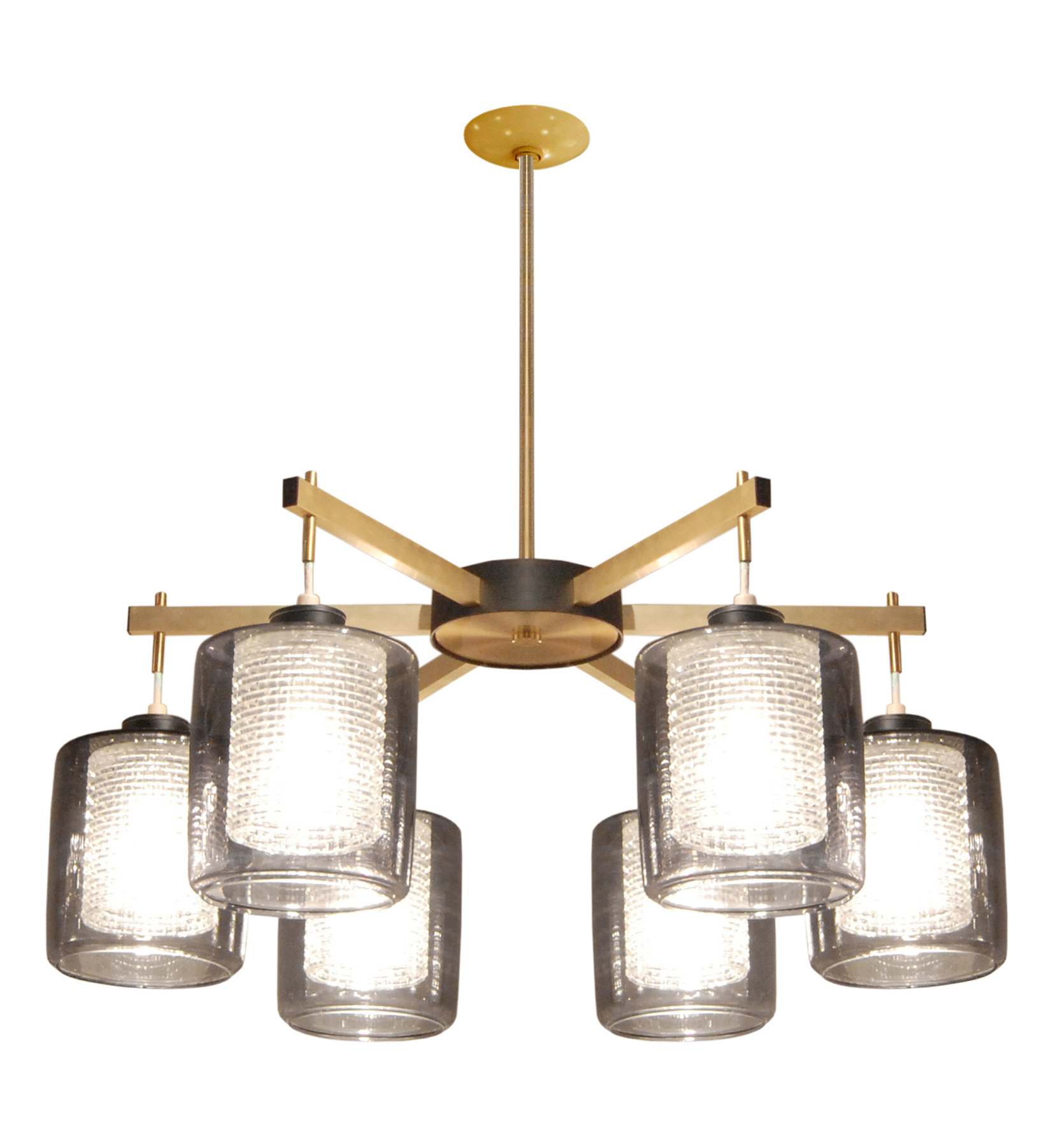 50's 45 Lrg rnd 6 glass shadesbrass chandelier157 hires.jpg