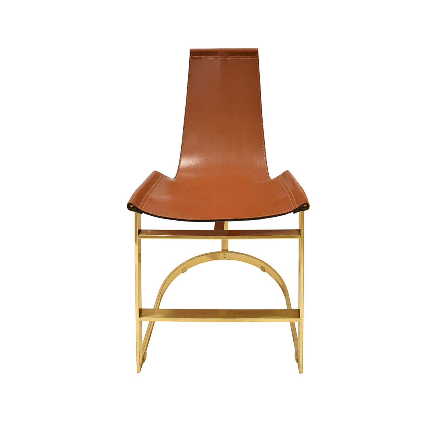 70s 75 brass with leather sling dinningchairs197 sngl frnt.jpg