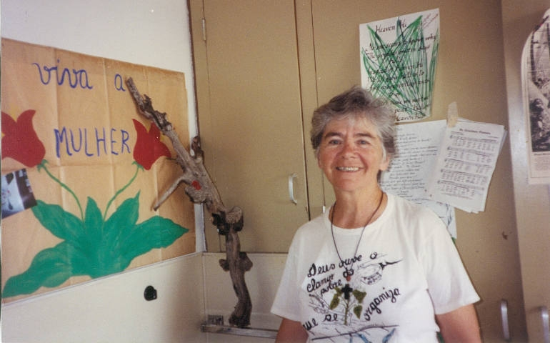 Notre Dame de Namur Sr. Dorothy Stang in her dorm room in 1992 at the Institute in Culture and Creation Spirituality at Holy Names University, in Oakland, Calif. (Sharon Abercrombie)