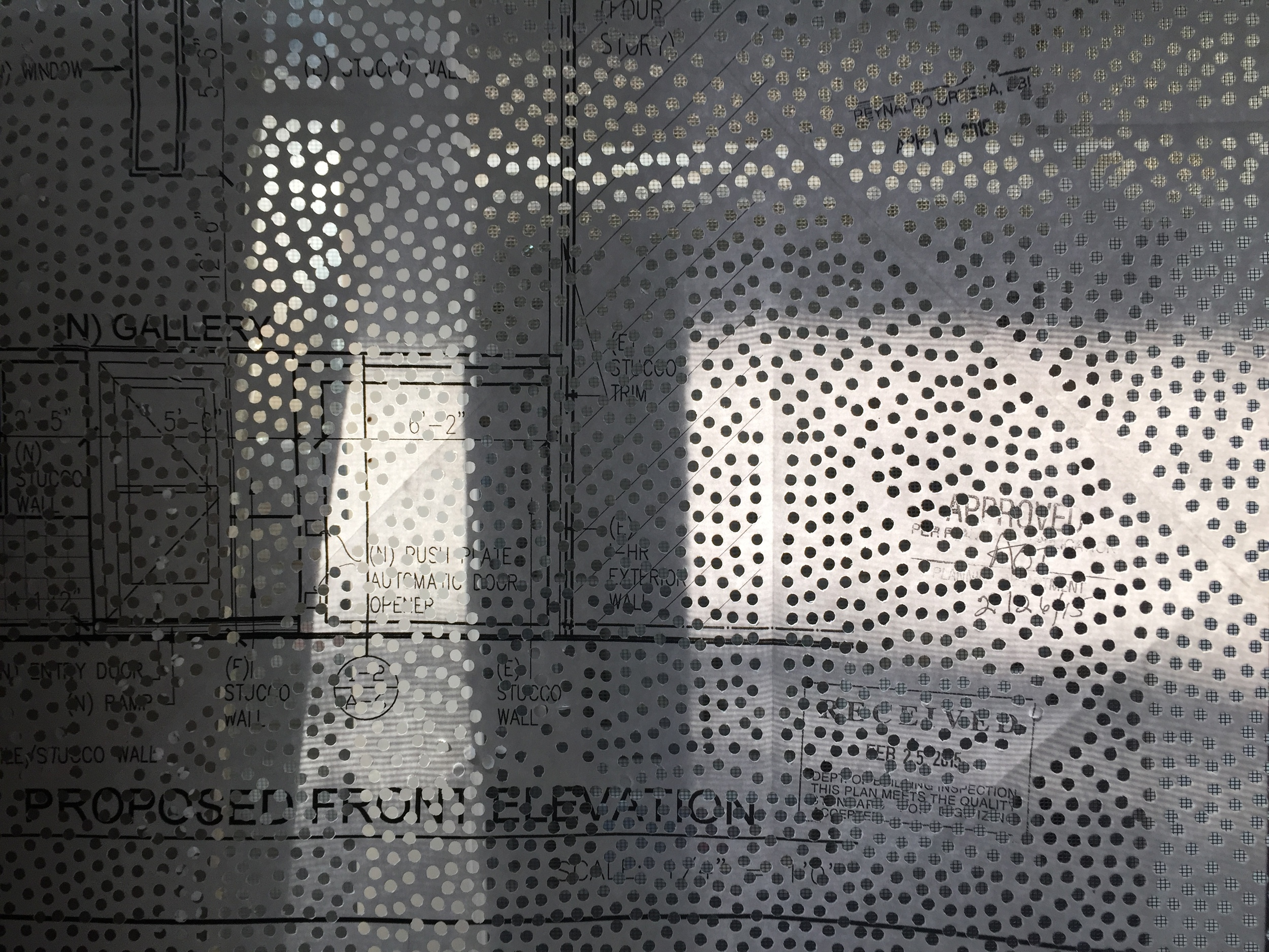 Shadows in Combs' studio on a portion of the blueprints used in her piece  Plan Backup The …  Photograph: Christopher Squier.