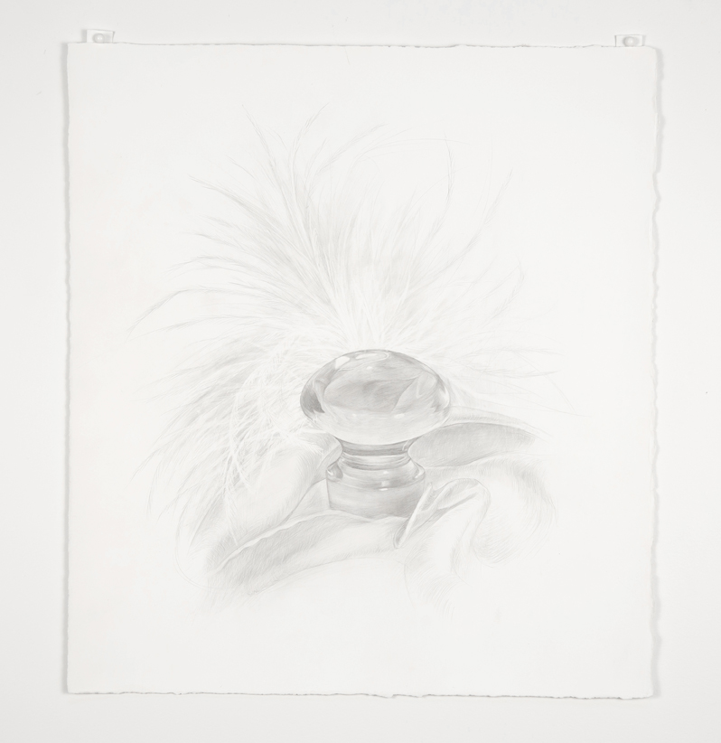 Katherine Vetne,  Glass Orb , 2016, 9x10 inch, silverpoint on prepared paper. Image courtesy of Lorna Stevens and Joanne Easton.
