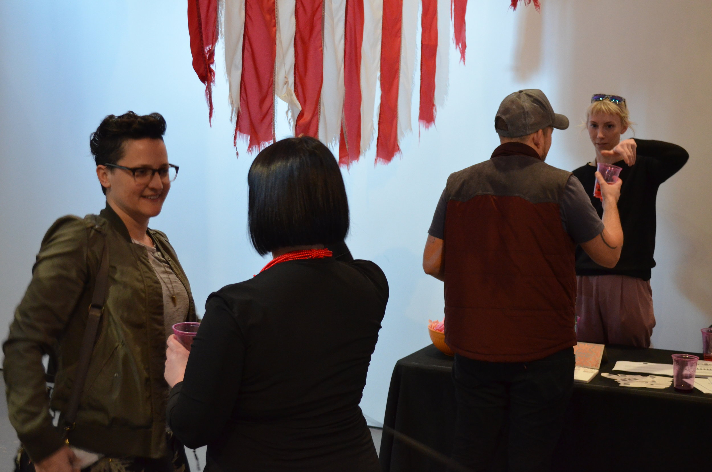 "Dissolv-ers enjoy refreshments, merriment, and literature at the Dissolve Issue 3 event, ""So Touchy,"" at the San Francisco Art Institute, Walter and McBean Galleries, February 28, 2017."