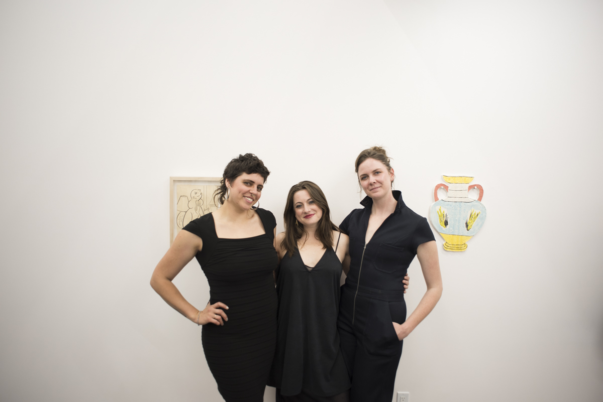 Kaitlin Trataris, Lauren Licata, and Anička Vrána-Godwin (co-founders R/SF projects), Young Collectors Club, R/SF projects, San Francisco, April 29, 2017. Image courtesy of R/SF projects.