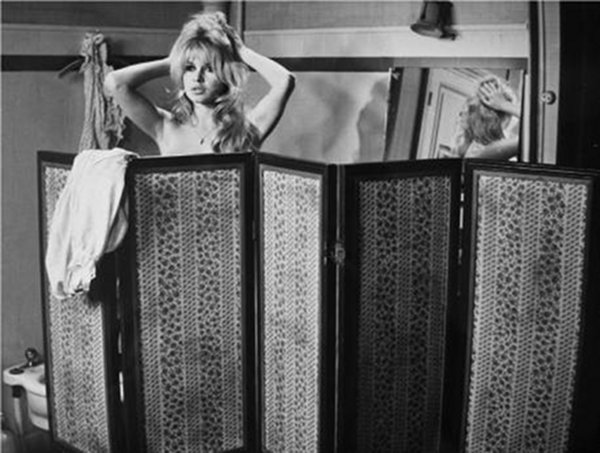 Brigitte Bardot and screen.