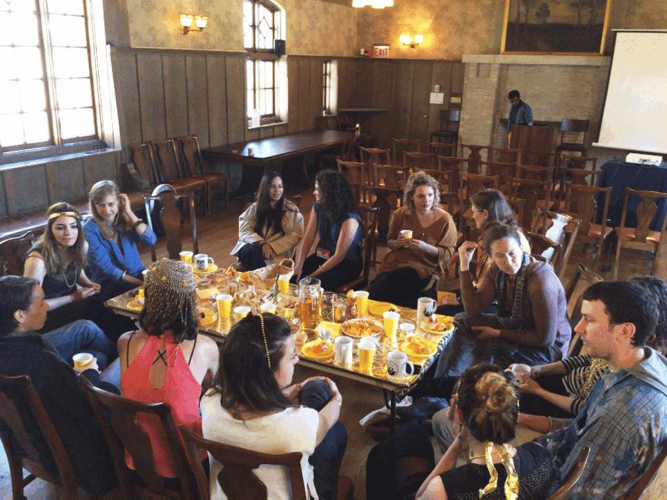 Shaghayegh Cyrous/Magdalena Jadwiga Härtelová,   The Language Project  , VIP Golden Class Language Breakfast, Jane Addams Hull House Museum, Open Engagement, Chicago, IL, 2017. Image courtesy of Shaghayegh Cyrous.