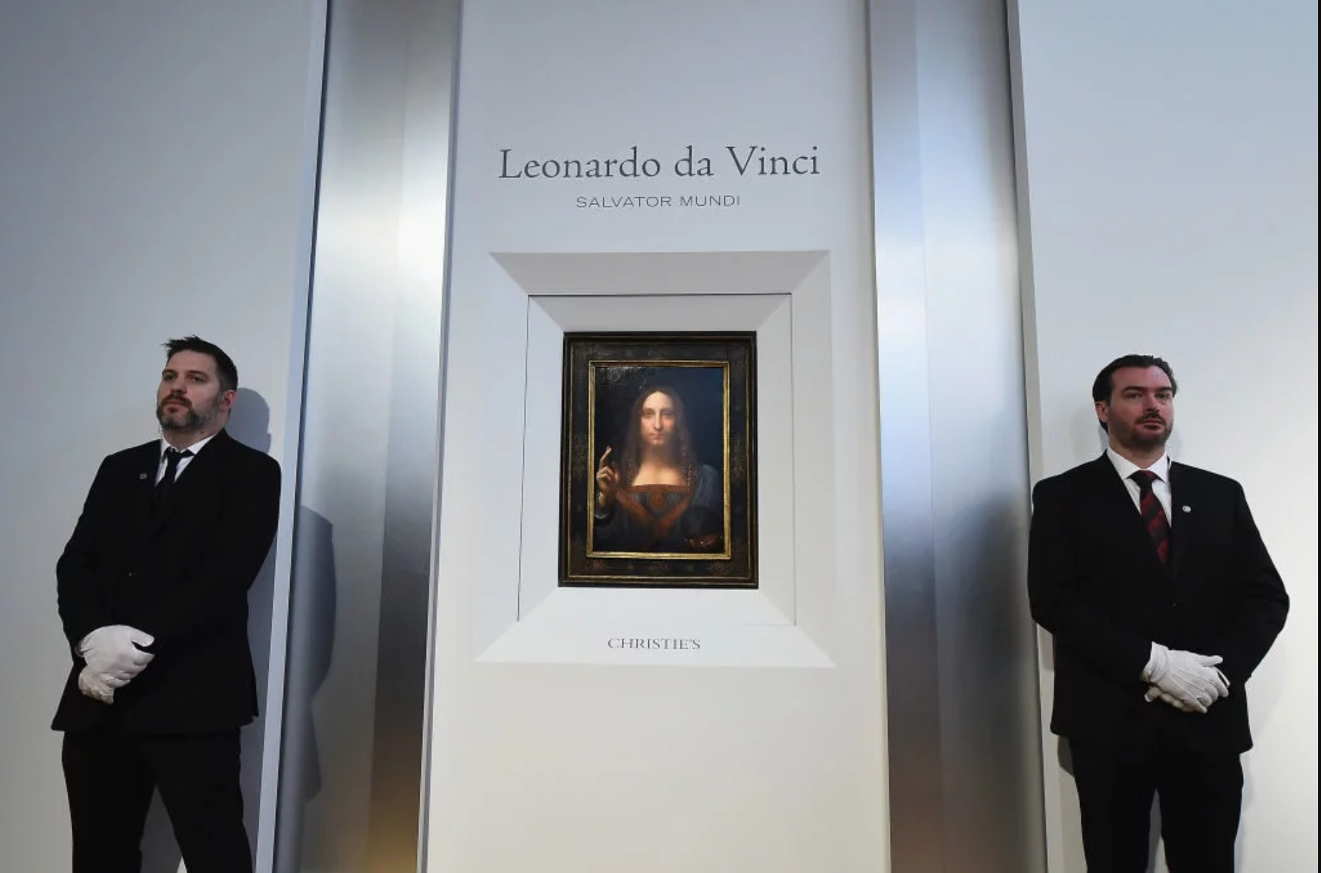 Christie's unveils Leonardo da Vinci's Salvator Mundi [pictured]on October 10, 2017 in New York City. Photo by Ilya S. Savenok/Getty Images for Christie's Auction House, SOURCED FROM ARTNET NEWS. POSTED 14 DECEMBER 2017.