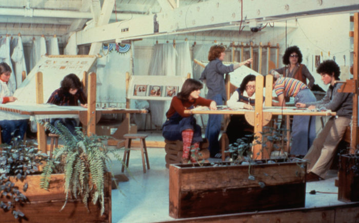 Fig. 2. Judy Chicago and Others Working in  The Dinner Party  Needlework Loft, 1978. Courtesy of Through the Flower Archive.