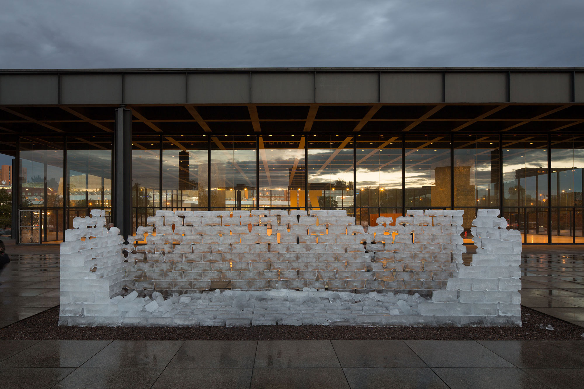 Allan Kaprow, Fluids , as recreated at the Neue Nationalgalerie on September 16, 2015 with support from the Allan Kaprow Estate and Hauser & Wirth. Photo copyright of Thomas Bruns.