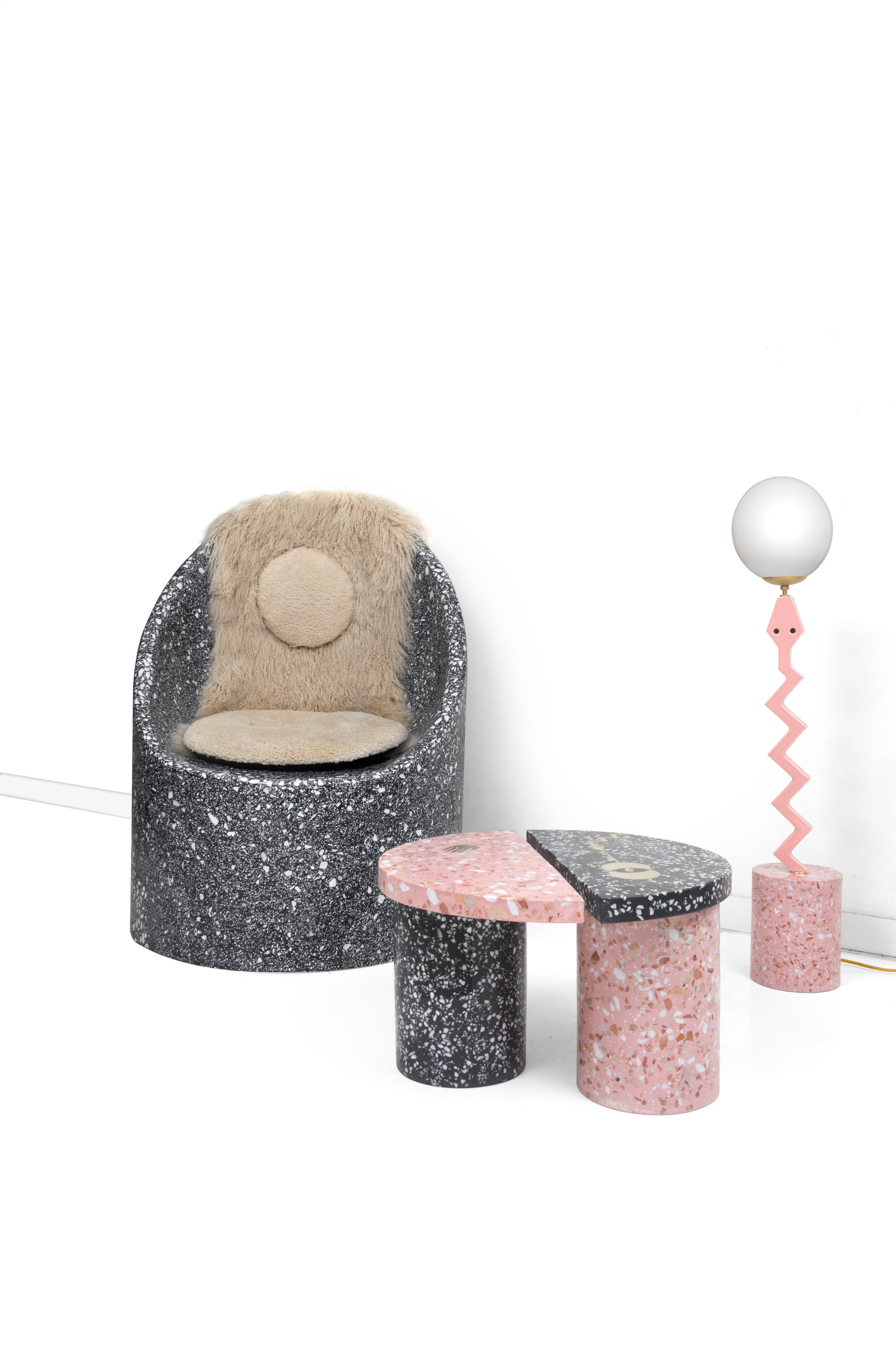 Cozy Cave Chair, Yin Yang Table, Serpentine Heart Song Lamp