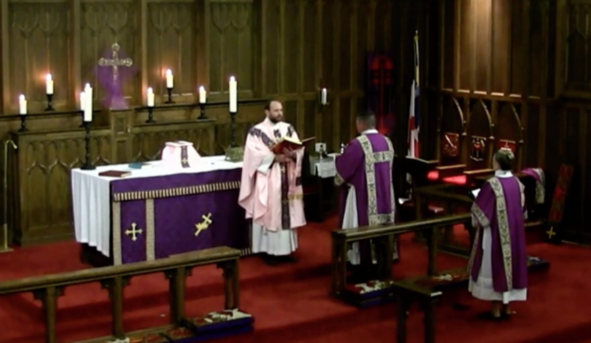 "The singing of the ""Decalogue""—In Lent we sing the traditional ""Kyrie Eleison"" (Greek for ""Lord have mercy"") from the Book of Common Prayer, which as been troped, or augmented, with the Ten Commandments. Note the Priest is wearing ""Rose"" vestments for the Fourth Sunday in Lent (called in Latin ""Laetare Sunday""). The rose color is a symbol for joy. Being halfway through Lent, we take a brief respite from our penance to rejoice in God's mercy."