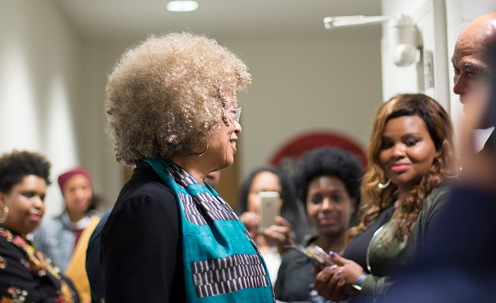 Angela Davis in the green room after an Evening with an Icon event