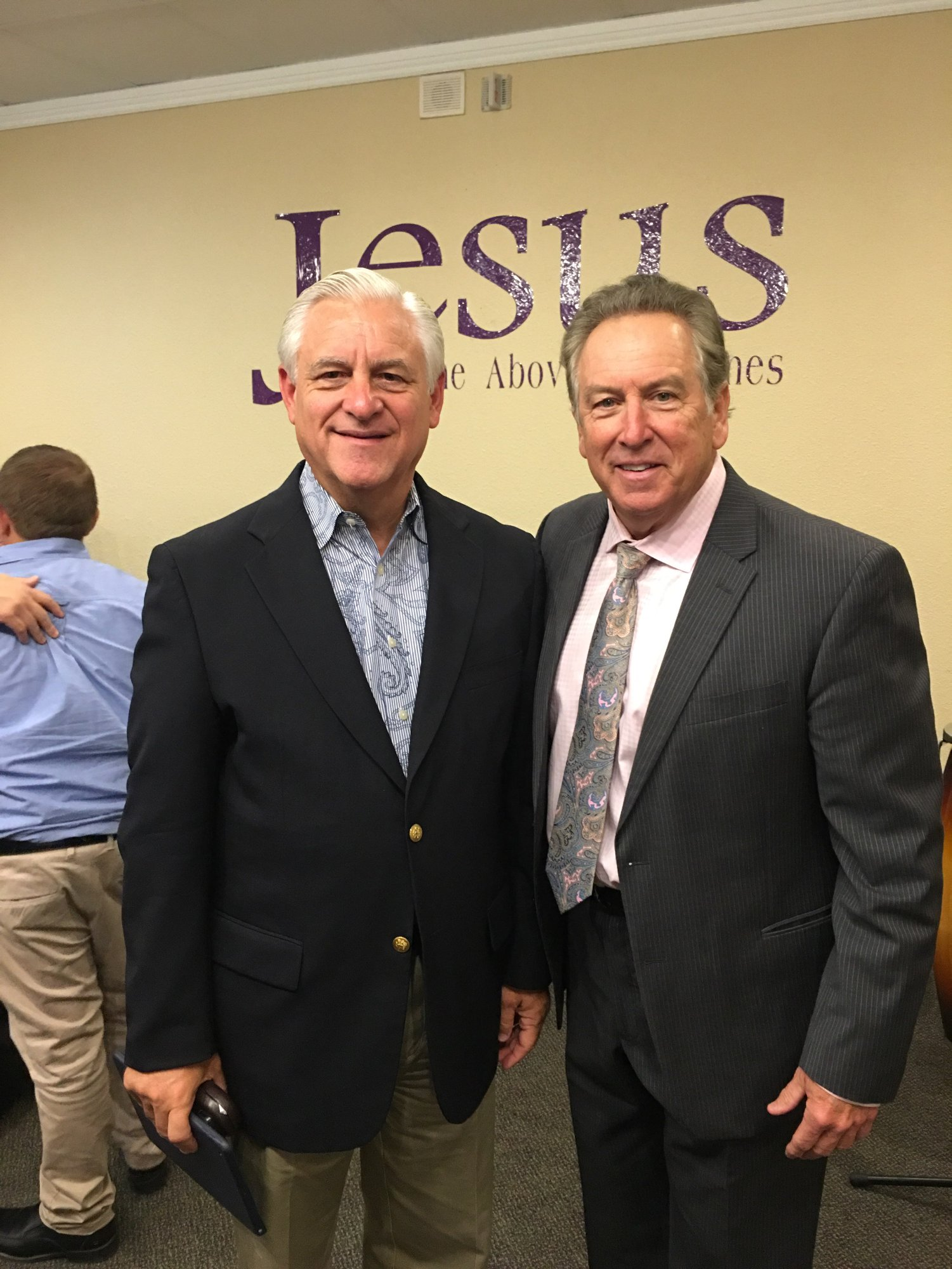 Winslow with David K. Bernard, UPCI General Superintendent, at a conference.