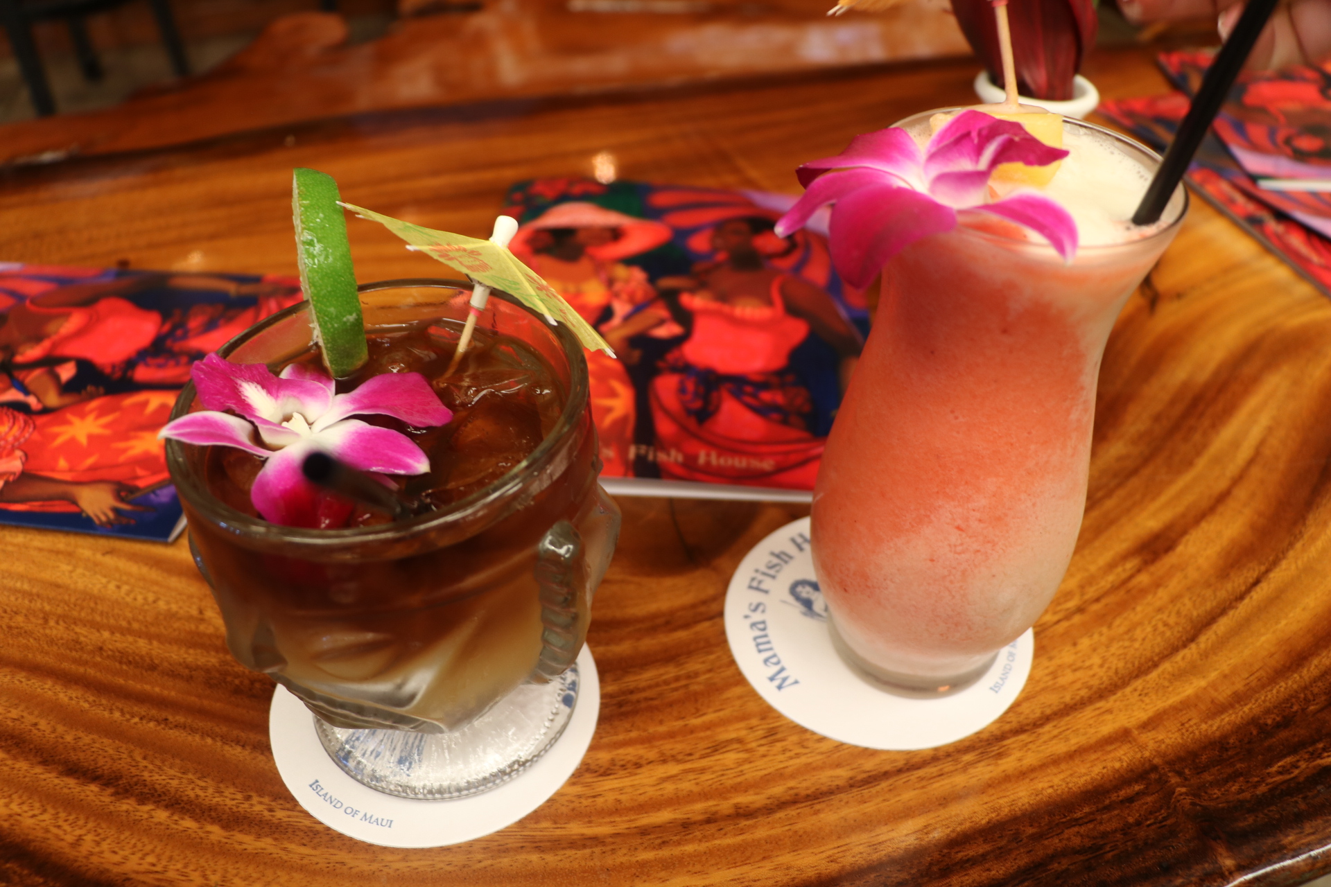 Mai Tai for Mr. A and a Virgin Lava Flow for his Baby Mama