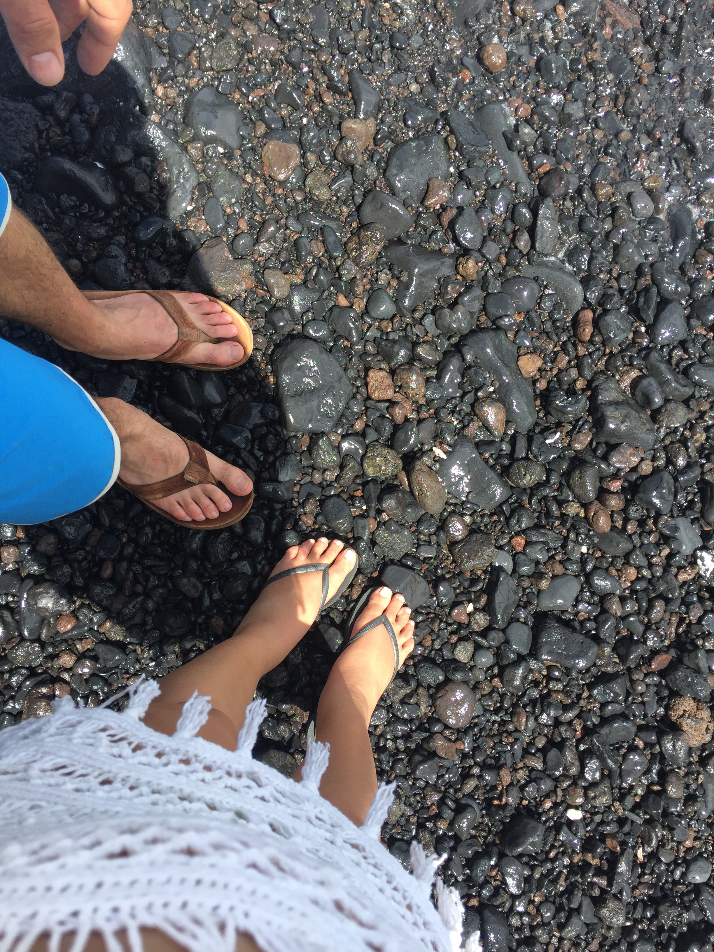 While some of it is black sand, it should probably be called Black Pebble Beach!