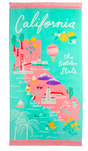 CALIFORNIA BEACH TOWEL BY LAUREN CONRAD  $17 ON SALE  I love a good beach towel and this one by LC is amazing! The print is so retro, love the summery colors and the price is too good not to get a few!