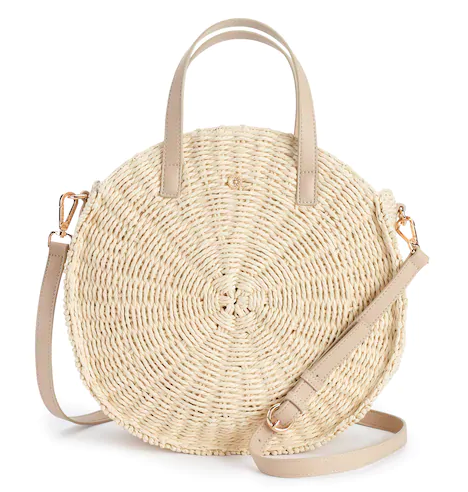 ROUND STRAW CROSS BODY BAG  BY LAUREN CONRAD $41 ON SALE  The cutest accessories trend this year. Love the neutral strap on this one with rose gold hardware. I rarely change out my handbags but during other seasons but there's something about the summer that inspires me to pack lighter and go for it!