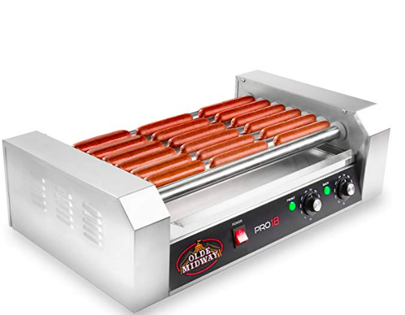 HOT DOG ROLLER  (FITS 18 HOT DOGS AT A TIME) BY OLDE MIDWAY $100  Here's the thing, I had no idea how much we needed this hot dog roller until we bought it. We LOVE this thing and it makes entertaining so easy! We love hosting friends and family but sometimes it can feel overwhelming to shop for all of the ingredients, cook and have all the other things you want to provide your guests. Lately our go-to is having a DIY hot dog bar. It's so easy! We got our all beef hot dogs, all the condiments and fun toppings, buns and then buckets of beer. Stress free summer entertaining!