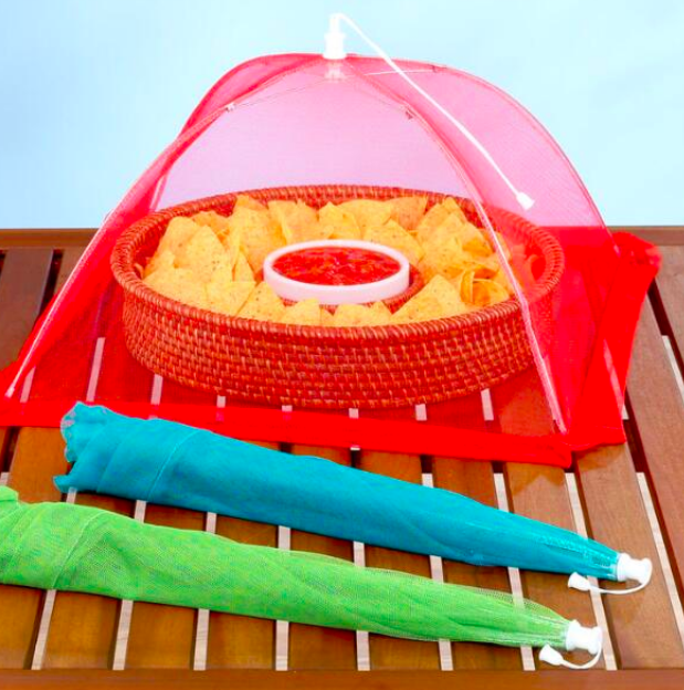 SET OF THREE MESH FOOD TENT  $7  We do a lot of entertaining outside and I can't stand with snoopy flies linger and land on the food. It's such a turn off. These are easy to store, affordable and something all hosts should own.