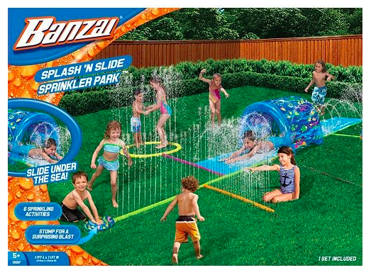 INFLATABLE SPLASH N SLIDE  $47  Mr. A surprised Milly with this and so far, it's been the best summer activity ever! It really has provided us endless hours of fun. I love all the little water features and how it's a less stressful alternative to a kiddie pool (where kiddos need constant attention).