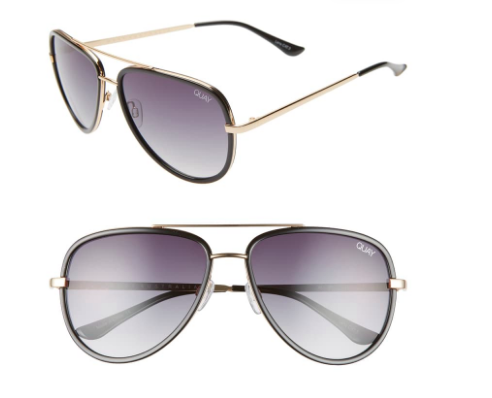 QUAY AVIATOR SUNNIES  $50  Can't go wrong with a pair of aviators and I own several. Love the thicker frame of these and how they provide just a bit of colored tint. The adjustable nose fits nicely on my nose so I'm never worrying about them sliding down or the frames messing up my makeup.
