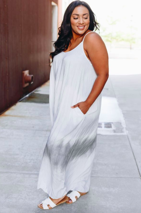 BEACH BABE TIE DYE MAXI DRESS  by STARDUST BOUTIQUE $55  I love, love, love this dress! It's light, stretchy, breathable and such a gorgeous neutral maxi. Worn with your favorite pair of summer sandals, it's the dress of the summer. Easily add a denim jacket or cute leather moto and big hoops and you're ready for date night. And who else gets extra excited when they find a dress with pockets?
