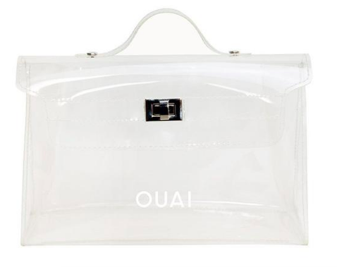 OUAI CLEAR MINI PURSE  $15  Maybe I'm late to this clear bag trend but I have the Ouai pink bag and use it all the time! It was limited edition but I found this one on their site and I love the shape and cute buckle. Perfect for poolside or summer travel vibes, right?