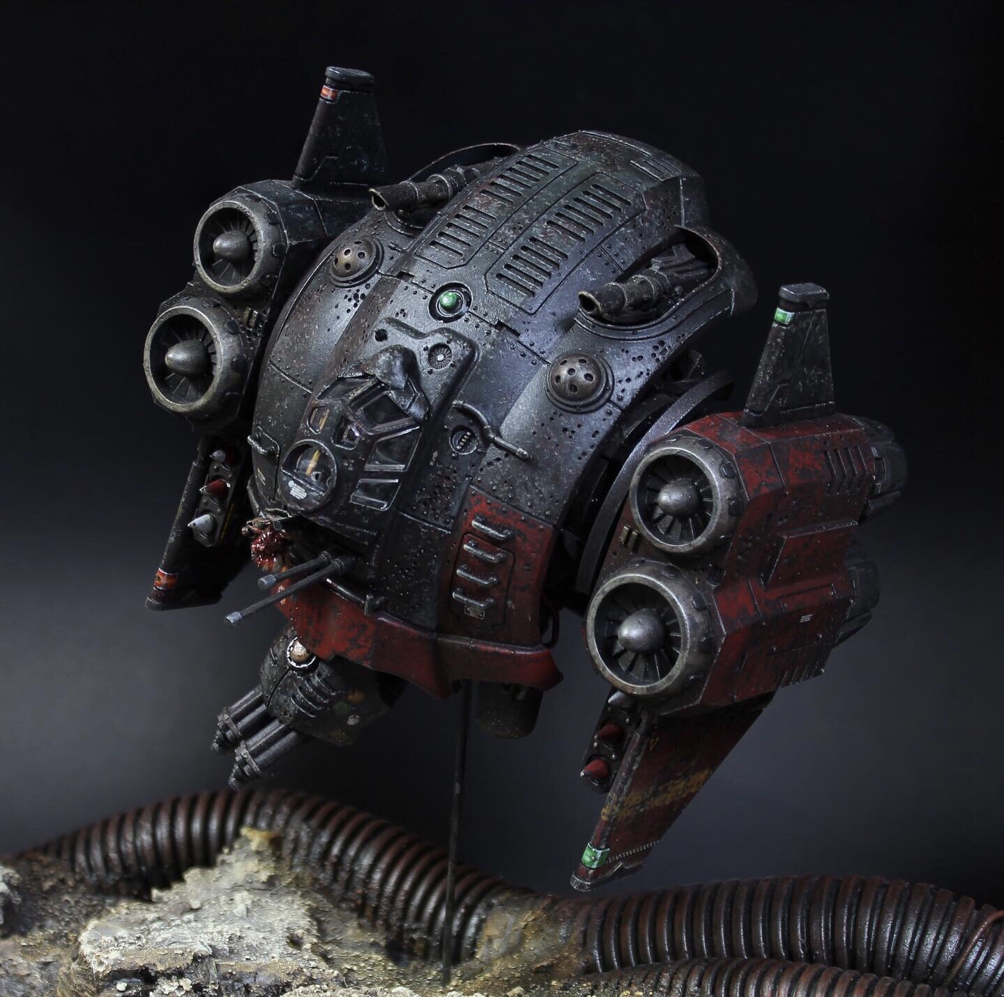 """Moon Hoof, ancient small craft war relic of the Sammahs Floating Cities, thought to be last of the Intrépide. Repurposed to the founding Wardens of house Viegtegol in the rebirthing era of Sammahs, the Hoof was then outfit to dispatch wide manner of ground and air conflict. Now long grafted to Kaelmn , once princeps prime of Viegtegol. Hoof has been """"upgraded"""" at the mysterious hands of YOD affiliate tecnoartisans and mech-biology perverts attempting to proxy a psychic integration between the Moon Hoof and Kaelmn facilitated by interlink of multiple tasked servo and servitor constructs."""