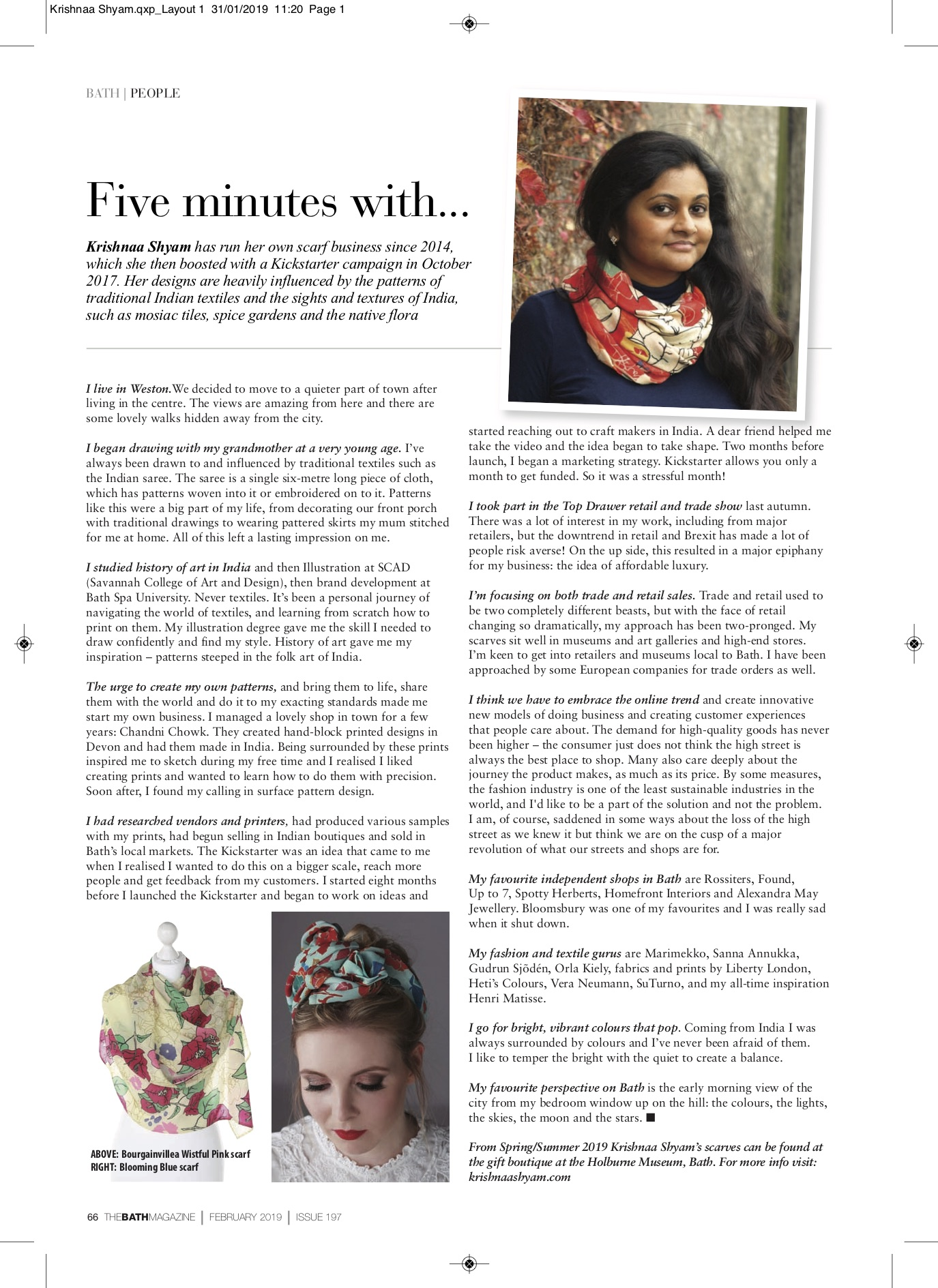 Krishnaa Shyam_5 minutes with_Bath Magazine Feb 2109.jpg