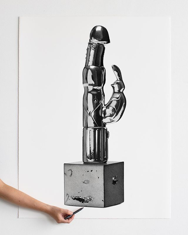 """So...this is a shiny dildo from the Trophy Room series (circa 2016) BUTTTT every Wednesday I release a """"weekly wallpaper"""" and it just so happens that this weeks image is this very object. So tottle along to my website and save the image and make it your wallpaper (heavy side note: if you are single and on a first date this is a guaranteed conversation starter. I am not single and haven't been on a first date in years but I can imagine it would be one hell of an ice breaker)"""