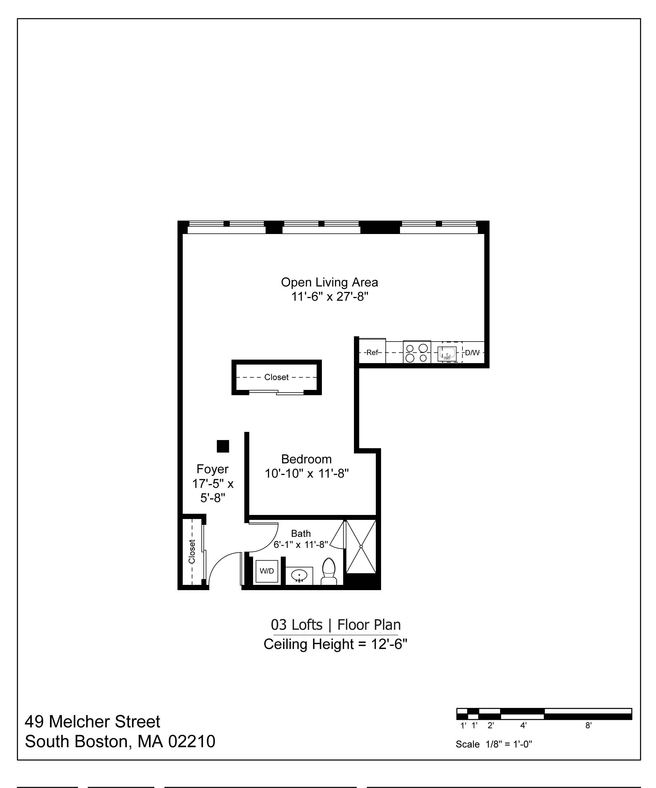 03 LOFT FLOOR PLAN - 871 SF   $2900-3250/MONTH