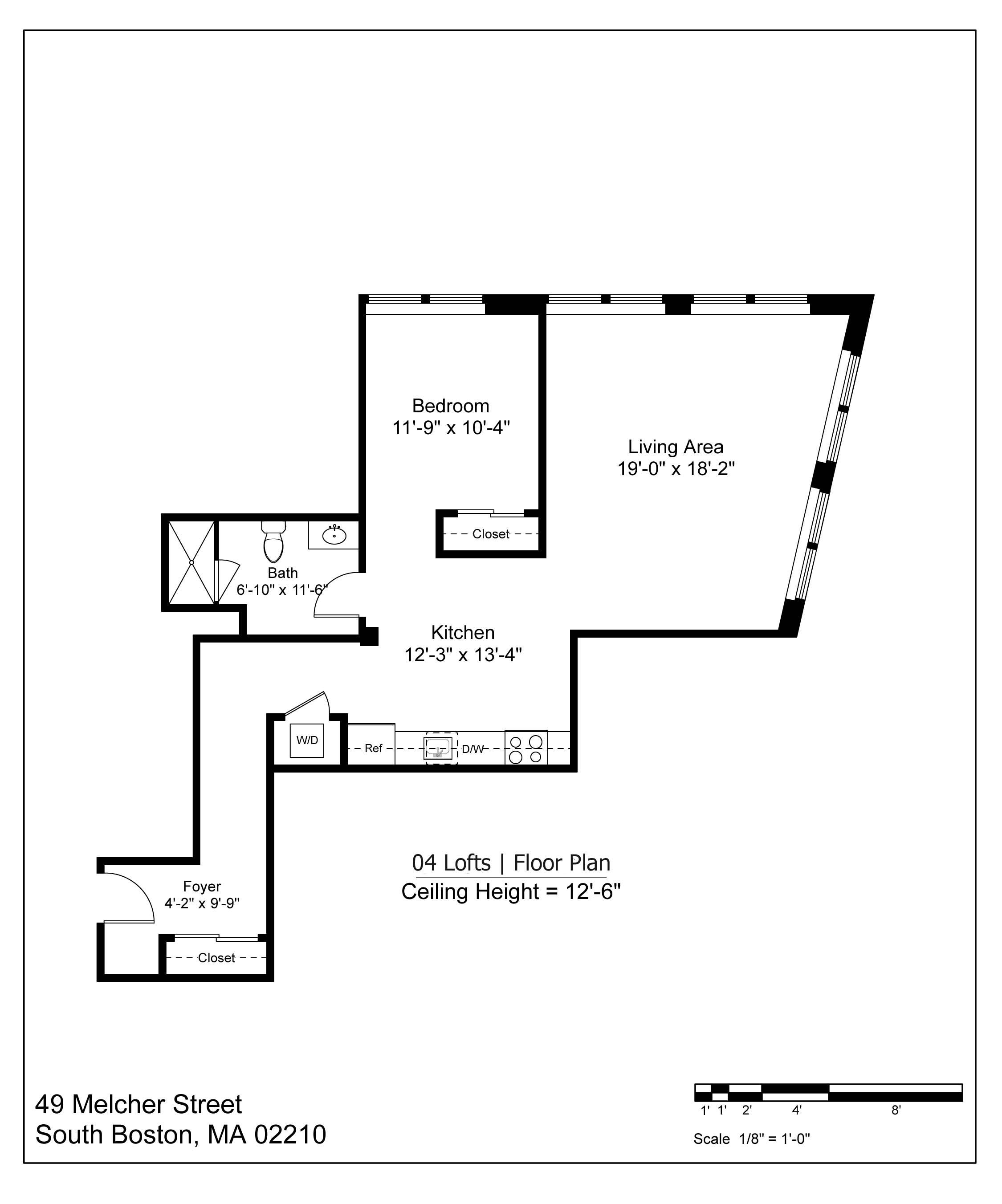 04 LOFT FLOOR PLAN - 897 SF | $3100-3300/MONTH