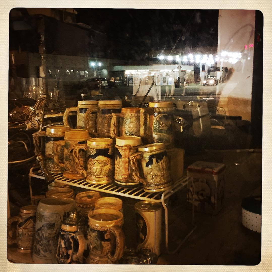 Day 47: beer steins and speedway lights.