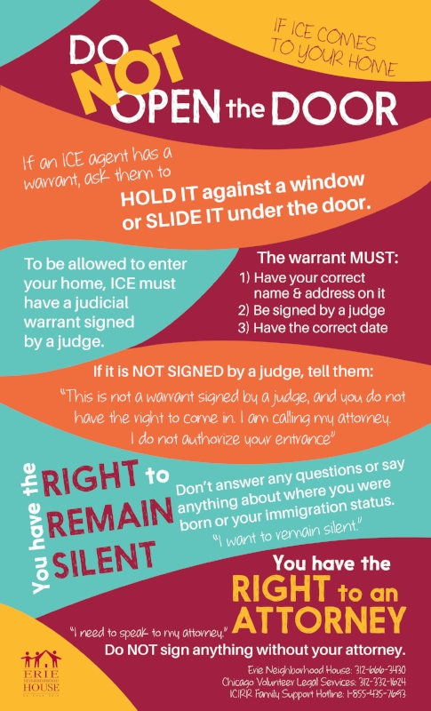 Know Your Rights Door Sign English