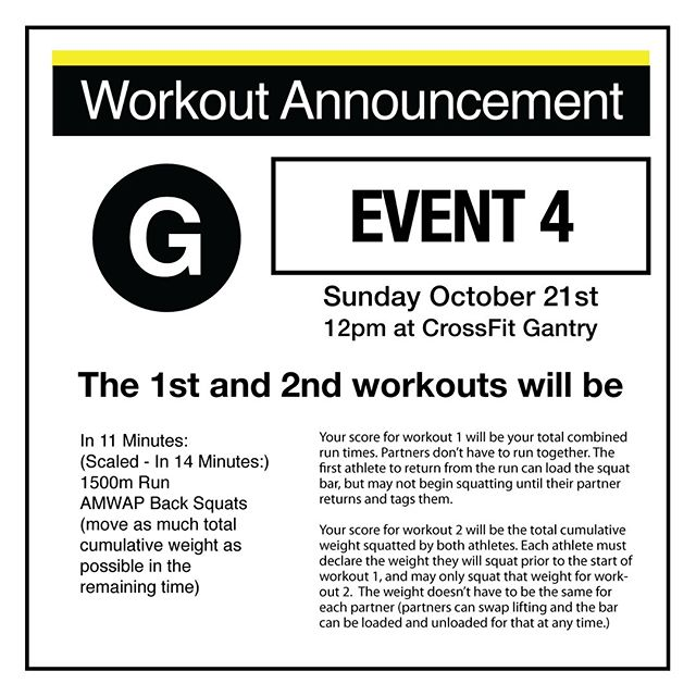 This is it! The first and second workouts of our final event at @crossfitgantry on Sunday will be... . In 11 Minutes: (Scaled - In 14 Minutes:) 1500m Run AMWAP Back Squats (move as much total cumulative weight as possible in the remaining time) . Your score for workout 1 will be your total combined run times. Partners don't have to run together. The first athlete to return from the run can load the squat bar, but may not begin squatting until their partner returns and tags them. . Your score for workout 2 will be the total cumulative weight squatted by both athletes. Each athlete must declare the weight they will squat prior to the start of workout 1, and may only squat that weight for workout 2. The weight doesn't have to be the same for each partner (partners can swap lifting and the bar can be loaded and unloaded for that at any time.) . There's still time to register your team: we've got 15 spots left for this event! Get on it at http://www.thenycsubwayseries.com 👯👯♂️