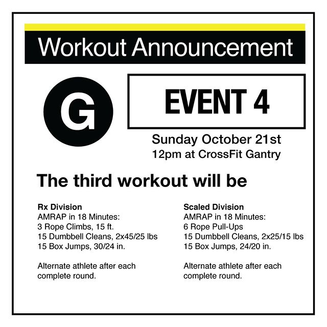 Annnnddd the very last workout of the 2018 NYC Subway Series going down THIS Sunday at @crossfitgantry will be… . AMRAP in 18 Minutes: 3 Rope Climbs, 15 ft. 15 Dumbbell Cleans, 2x45/25 lbs 15 Box Jumps, 30/24 in. . Alternate athlete after each complete round. . - Scaled Division - AMRAP in 18 Minutes: 6 Rope Pull-Ups 15 Dumbbell Cleans, 2x25/15 lbs 15 Box Jumps, 24/20 in. (Step-Ups allowed) . You've got until Thursday at midnight to sign up your team - get on it at http://www.thenycsubwayseries.com! ⏰🏃